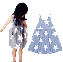 2017 summer cute Casual style for Denim blue girls dress printing Many Stars baby&kids cotton girl Sleeveless vest A-line dress