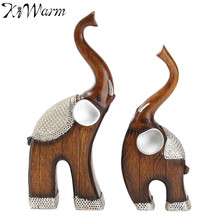 2Pcs/set Polyresin Elephant Statue Ornaments Resin Crafts Lucky Figurine For Fortune Wealth Home Office Decoration Birthday Gift(China)