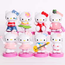 (8pcs/lot) Hello Kitty Summer Theme Toy Figures Cartoon Cat Figurine Cake Decoration Cute Plastic Model Children Girl Gifts