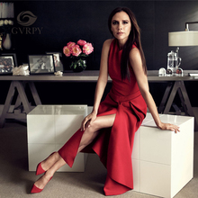 2017 New Runway Victoria Beckham Dress for Women Solid Color Black / Red Sexy Sleeveless Asymmetrical Mid Dresses Party Vestidos(China)