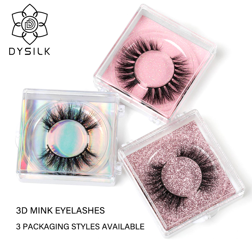 DYSILK Custom color 3D Mink Eyelashes Natural length False Eyelashes Cruelty Free Volume Mink Lashes Dramatic Eye Makeup Tools(China)