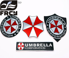 Car Styling 3d Aluminum Alloy Umbrella Corporation Stickers Resident Evil For Chevrolet Opel Peugeot Renault Mazda(China)