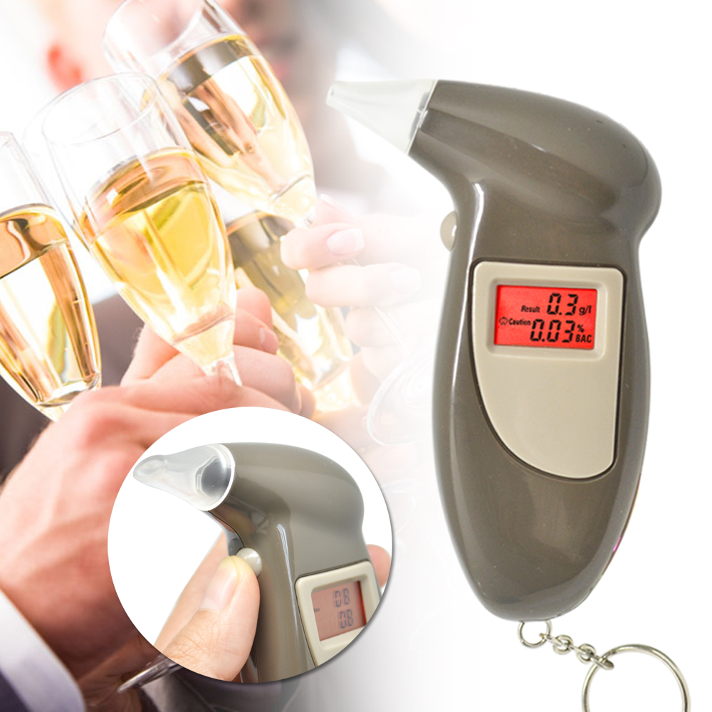 Digital LCD Alcohol Breath Analyzer Breathalyzer Tester Keychain Audible Alert(China (Mainland))