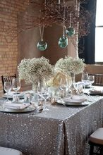 11.11 Panic buying!! 90'' by 132'' Rectangle Embroidery Design Elegant Gunmetal Sequin Table Cloth For Wedding Decoration(China)