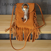 2017 Women Genuine Leather Small Fringe Shoulder Bags Bohemian Folk Indian Ibiza Style Boho Chic Hippie Gypsy Music Festival Bag