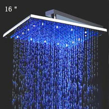 Retail - 16 Inch Stainless Steel Led Square Shower Head Light, Color Changed without Battery,Free Shipping X15380