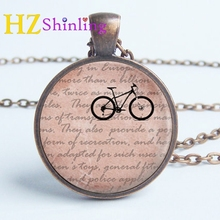 2017 New Vintage Cycling Necklace Ride Bicycle Pendant Jewelry Glass Photo Cabochon Necklaces Hand Craft Accessory
