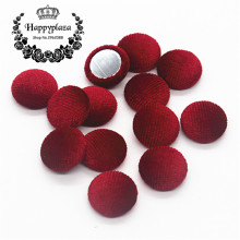 15mm 50pcs Wine Red Korean Velvet Fabric Covered Round Home Sewing Buttons Flatback DIY Scrapbook Craft