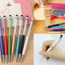 Creative Trendy Ultra soft 2 in1 ballpoint pen Crystal Writing Stylus Touch Screen Pen For iPhone Tablet(China)
