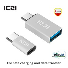 ICZI Type C to Micro USB Adapter(1pcs) + Type C to USB 3.0 Adapter(1pcs) for Macbook Chromebook Pixel HTC 10 LG G5 (Silver)(China)