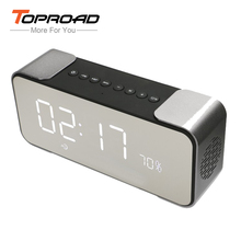 TOPROAD Portable Bluetooth Speaker with FM Radio Time Alarm Clock TF card Aux in MP3 player Mirror LED Stereo PC Phones Speakers(China)