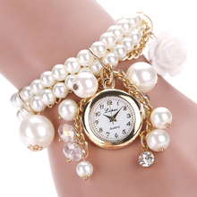 Lvpai Brand Fashion Box Women Watches Rose Flower Design Faux Pearl Round Dial Analog Quartz Bracelet WristWatches Women Watch