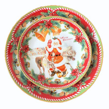 Ceramic 8 Inch Plate Christmas Santa Plate Edible Hand-painted Porcelain Cartoon Flat Dish Home Deco Plate Christmas Gift 1pcs(China)