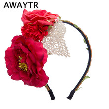 2017 Spring Summer White Flowers Hairband Hair Bands New Women Girls Boho Lace Fabric Floral Headwear Elegant Headband for Party