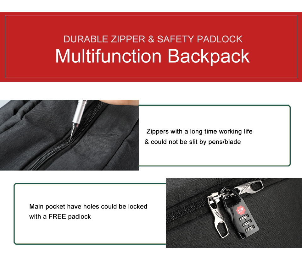 4 anti theft backpack with lock