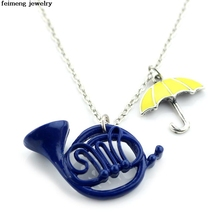 HIMYM How I Met Your Mother Necklaces & Pendants Yellow Umbrella mother Blue French Horn Necklace High Quality Gift For Fans