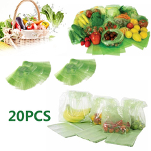New Hot Sale Best 20PCS Kitchen Storage Food Vegetable Fruit and Produce Green fresh Bags Reusable Life Extender Wholesale Price