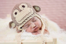 free shipping, 100% cotton Children's Earflap hat ,Sock monkey hat, baby sock monkey hat, boys crochet monkey hat