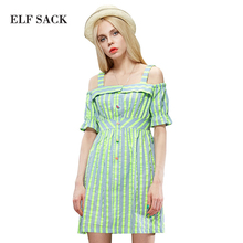 ELF SACK fashion brand new arrival 2015 summer women neon color stripe strap one-piece dress button cotton fabricfree shipping