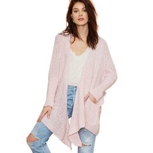 European And America Street Asymmetrical Cardigans 2016 Autumn Womens Casual Loose Long Sleeve Open Stitch Pink Sweaters