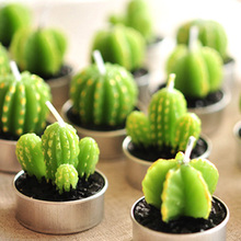 New 6PCS/Set Home Decor Rare Mini Cactus Candle Table Tea Light Home Garden Simulation Plant Candle Decorative Wedding Candles(China)