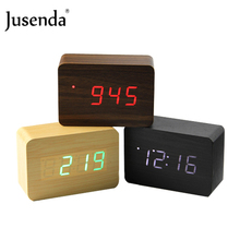 LED Voice Control Cube Wooden Alarm Clock Electronic Desk Clock Digital Table Projector Watch Nixie Night Bedside Clock kids