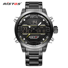 RISTOS Stainless Steel Men Sport Watch Analog Wristwatch Multifunction Fashion Chronograph Watches Relojes Masculino Hombre 9338(China)