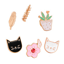 Enamel Potted Cactus Plants Pink Flower Gold Wheat Leaves and Cute Animal Black White Pet Cat Brooch Pins Alloy Brooch Jewelry