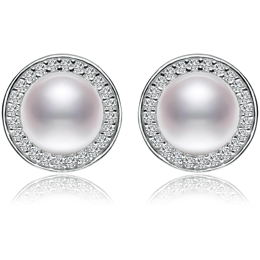 FEIGE New design 7-8mm White Freshwater Pearl Stud...