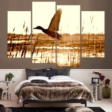 HD Printed 4pcs Duck training to fly Painting on canvas room decoration print poster picture canvas unframed