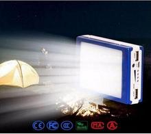 Dolidad Auceen Real 15000mAh Solar Power Bank + LED Camping Light Backup Battery Charger Portable Rechargeable for Mobile Phones(China)