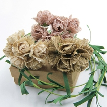 6PCS Artificial Jute Burlap Flower Bouquets For Home Wedding Party & Wedding Car Decoration Scrapbooking Wreath Fake Flowers(China)