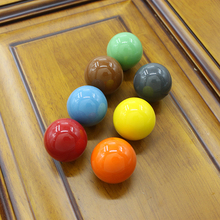 Candy Color Round Ball Knob Ceramic Kitchen Cabinet Knob Dresser handle Drawer Knob Pull 27mm Porcelain Kids Furniture Knobs(China)