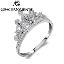 Grace Moments Crown Ring Girls Fashion Princess Tiara Ring Wedding Finger Rings with S925 Marked Engagement Ring Party Jewelry