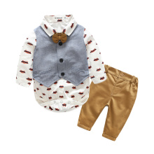 Kimocat Newborn Baby Boy Clothes Set Birthday Christening Cloth Infant Baby Boys Formal Wedding Clothes Suit Vest+T-shirt+Pant