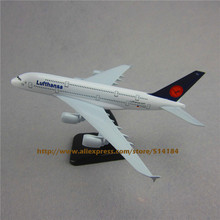 20cm Metal Plane Model Germany Air Lufthansa Airlines Airbus 380 A380 Airplane Model Airways w Stand Aircraft Gift(China)