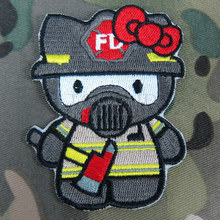 Hello Kitty  Fire Fighter Kitty Military Tactics Morale Embroidery patch Badges B2793