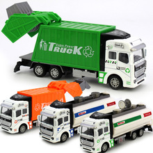 Hot Toys Alloy Car Model Mini Diecast Delicate Pull Back Toy Garbage Truck Watering Transport Vehicle 1/32 City Vehicle 3 Styles(China)