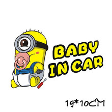 Despicable Me Minions Movie Sticker Baby In Car Sticker Waterproof Reflective Car Decal Rear Windshield Door Window Warning
