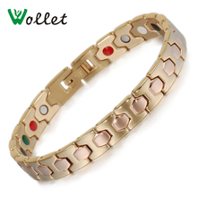 Wollet Jewelry Women Rose Gold Color Bracelet Health Energy Bio Magnetic Germanium Tourmaline Ion Infrared Bracelets Femme