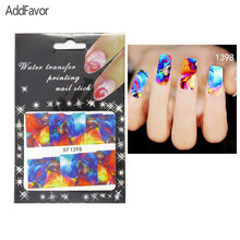 AddFavor 4PCS Nail Art Stickers Colorful Painting Fingernail Beauty Designs Nail Tip Manicure Nail Foil Makeup Tools Adhesive