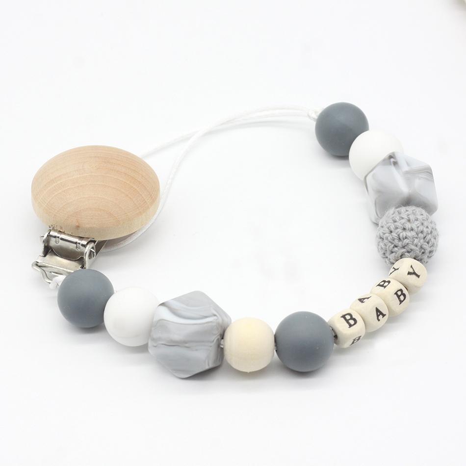 Personalised Wooden Dummy Clip Crochet Beads White Grey Boy Girl Boys Girl