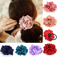 Hot Sale Big Rose Flower Elastics Hair Holders Rubber Bands Girls Women Kawaii Cute Tie Gum Fabric Headwear Accessories 2017 New
