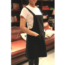 Black Chef Aprons Kitchen Cooking Backing Cafe Art Cotton Apron With Three Pockets Woman Man Apron + Free Print White Logo(China)