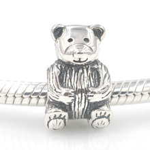 Fits Europe Charms Bracelet Authentic Original 925 Sterling Silver Beads Teddy Bear Charm Bead DIY Making Women Jewelry
