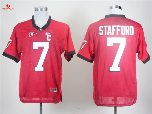 Nike Georgia Bulldogs Matthew Stafford 7 Red C Patch College Boxing Jersey(China)