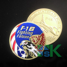 100pcs/lot Air Force F-16 Fighting Falcon Gold Plated Coin American Challenge Coins of the United States DHL Free Shipping(China)