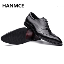 2018 NEW Fashion Men Genuine Leather shoes High Quality Wedding Evening Party shoes business dress men Oxfords shoes HOT Sale !(China)