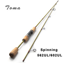 TOMA Spinning Fishing Rod Carbon Fiber 1.68-1.8m UL 2 Sections 0.8-5G Ultralight Spinning Rods Travel Rod peche Fishing Tackle(China)