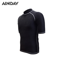 High Elasticity Men Women Wetsuit Short Sleeve Swimsuit UV Protection Swimming Shirts Diving Suit Black Surfing Rush Guard XXXL(China)
